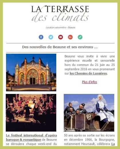Newsletter de la Terrasse des Climats - Beaune tourisme